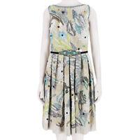 Naeem Khan Taupe Twill Silk Intricately Beaded & Embroidered Dress US4 UK8