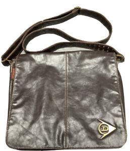 Vintage Rare Retro Dunlop Sport Dark Brown Leather Look Messenger Bag Cross Body
