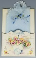 Vintage Treasure Masters Mothers Day Card Blue Handkerchief Herrmann Switzerland