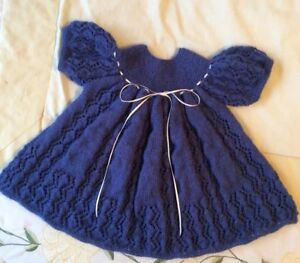Hand Knitted Baby Dress.blue baby Dress.handmade.22inch Chest.14inch Length.blue