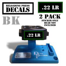 "22 LR Reloading Press Decals Ammo Labels 1.95"" x .87"" Sticker 2 Pack BLK/GRN"