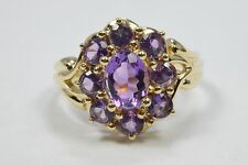 Women's Vintage 1.80 ct Natural Amethyst Gemstone 14k Yellow Gold Halo Ring TO