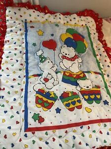 Vintage Carters Crib Quilt & Dust Ruffle Bears Hearts Balloons Ruffles Primary C
