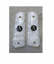 AJAX For 1911 Government Grips WHITE Pearlite w/ BLACK & NICKEL COLT LOGO COIN