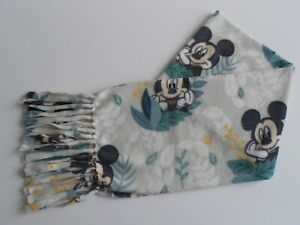 """Mickey Mouse Fleece Scarf with Fringe Beige Green Handmade New Size 8"""" x 58"""""""