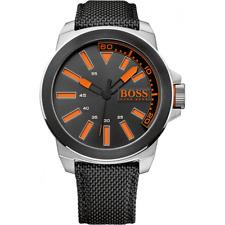 NIB Hugo Boss 1513116 New York Orange Mens Stainless Steel, Black Leather Strap