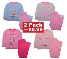 Girls 2 Pack Pyjamas Nightwear Unicorn Flamingo Design 100% Cotton Pjs 2-11 Yrs