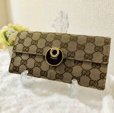 Auth GUCCI Logos GG Canvas Leather long Wallet