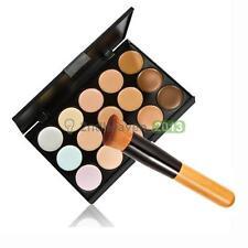 15 Colors Contour Face Cream Makeup Concealer Palette & Powder Brush Tool NEW