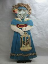 Vintage hand made mixed media paper craft doll with cat head