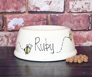 small slanted dog bowl hand painted cat bowl personalised ceramic bee bowl dish