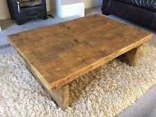 Rustic Handmade Chunky Reclaimed Solid Wooden Coffee Table In Medium Oak Stain.