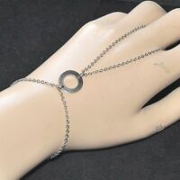 Chaîne de main bracelet bague en acier (coul argent ) cercle bijou