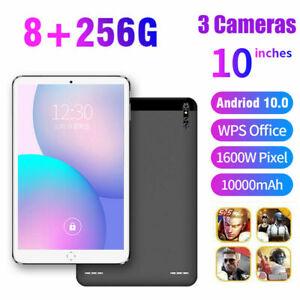 10.1 inch 8+256GB Android 10.0 Pad GPS+WiFi Triple Camera Dual SIM HD Tablet