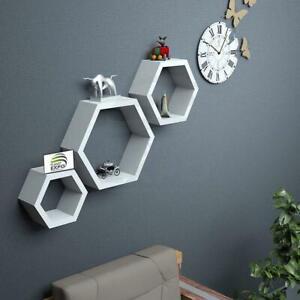 Hexagon wall shelf, Set of 3 Floating Hexagon wall Shelf (White)