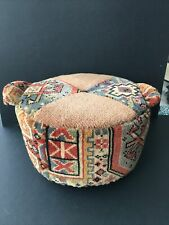 Vintage Handmade Round Carpet Footstool 16cm H X 28 Cm Dia