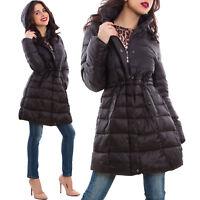 Piumino donna giaccone trench imbottito cappuccio taglie curvy nuovo Z-1705