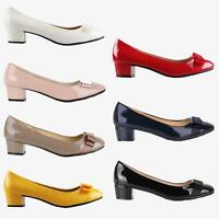 Womens Patent Ballerina Bow Flats Low Block Heel Court Shoes Party Casual Pumps
