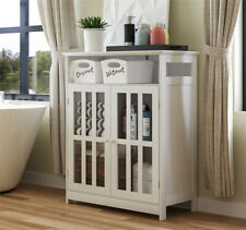 Utility Storage Cabinet Bathroom Freestanding Cabinet with Tempered Glass-Doors
