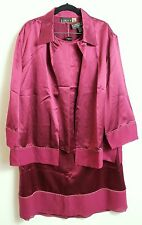 Woman's Plus size 3X merlot colored silk dressy jacket by Finity Naturals II NWT