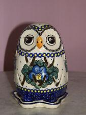 UNIKAT Polish Pottery Owl Tea Light! Mila Pattern!