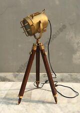 Handmade Brass Antique Floor Lamp Marine Wooden Tripod Studio Searchlight Decor