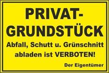 stabiles Schild 20x30 Privatgrundstück Abfall, Schutt.verboten #B22 gelb/schwarz