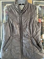 Ariat Quilted Vest Stand Up Collar Women's Sz MED Brown Embroidery Polyester