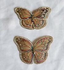 2 Butterfly Iron On Patch Silver Iridescent with Rhinestones *US SELLER*