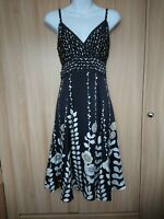 Ted Baker Womens Black Floral Spotted Belted Silk Party Dress Size 2 Fit UK 8/10