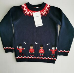 Marks And Spencer Boys Knitted Christmas Jumper Age 3-4 NWT