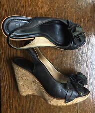 """FRYE Wedge Platform Pumps Black Leather """"Pepper Leaf Sling"""" Women's Size 8"""