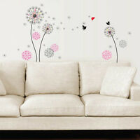 Small Black Pink Dandelion Flowers Bird Wall Stickers Mural Art Home Decoration