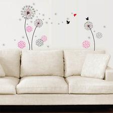 Small Black Pink Dandelion Flowers Bird Wall Stickers Mural Art Home Decoration