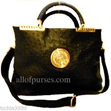 Designer Inspired Black Ostrich Golden Fortune Leaf Metal L Shoulder Bag Handbag