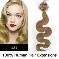 """20"""" Remy Micro Rings/loop Hair Wavy Human Hair Extensions #24 Medium blonde"""