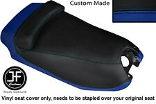 BLACK & ROYAL BLUE VINYL CUSTOM FITS HYOSUNG GRAND PRIX 125 DUAL SEAT COVER ONLY