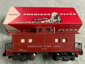 American Flyer #930 AFL Caboose RARE RIVETED LIGHT STICKER & #24608 original box