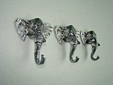 Metal Elephant Trunk Coat Hook Set of 3 Pieces Hooks f1 HOME DECOR EDH