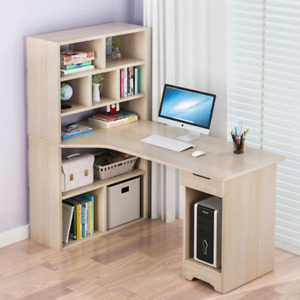 Computer Desk with Side Shelves Storage PC Table Home Office Workstation Unit