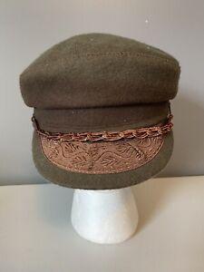 Vintage Greek Fishermans Hat Green Brown Wool Made In Greece Size 57 7 1/8