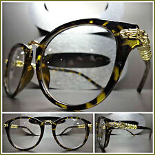 Men Women CLASSIC 60s VINTAGE Style Clear Lens EYE GLASSES Tortoise & Gold Frame