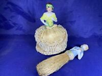 Vintage Lot of 2 Porcelain Half Body PIN Cushion Doll W/ Sticker & Brush D392