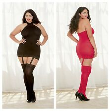 SHEER BLACK GARTER DRESS WITH LACE TRIM DETAIL & ATTACHED THIGH HIGH STOCKINGS