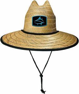 Loco Skailz Mens Shark Print Lifeguard Straw Hat One Size Natural beige