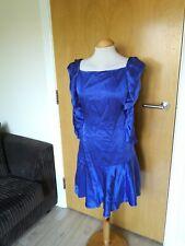 Ladies KAREN MILLEN Dress Size 12 Blue Satin Party Evening Wedding Races