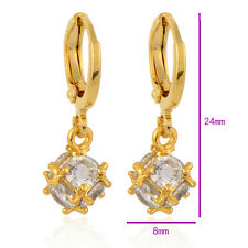 Ball Drop 24mm Long Dangle Earrings Solid Gold Filled Women Crystal 's Magic