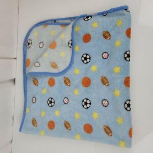 Blue Sports Themed Baby Boy Blanket Yellow Stars Fleece Plush Kidgets Lovey