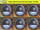 6 Pack 100mm Round LED Wall Lights Black - 12V Safe Low Voltage