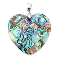 1pc Love Heart 35mm Natural Abalone Mop Shell Bead Pendant fit Necklace Jewelry